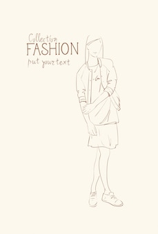 Fashion collection of clothes female model wearing trendy clothing sketch