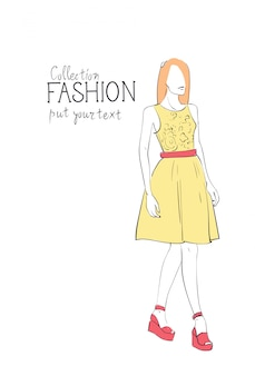 Fashion collection of clothes female model wearing trendy clothing