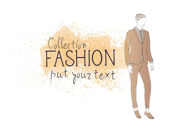 Fashion collection of clothes male model