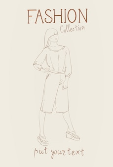 Fashion collection of female clothes set of woman models wearing trendy clothing sketch