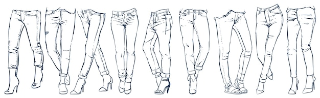 Fashion collection of girl's jeans