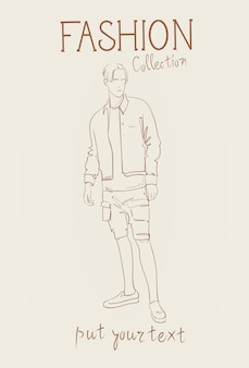 Fashion collection of male clothes set of man models wearing trendy clothing sketch
