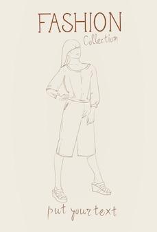 Модная коллекция женской одежды набор женских моделей, носящих модный эскиз одежды