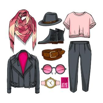 女の子の服やアクセサリーのファッションコレクション。カジュアルな女性のスタイル。セットする、