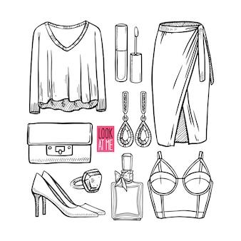 女の子のスケッチの服やアクセサリーのファッションコレクション。カジュアルな女性のスタイル。