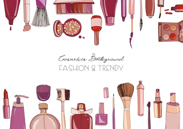 Fashion cosmetics horizontal background with make up artist objects.   hand drawn illustration with place for text.