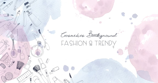 Fashion cosmetics horizontal background with make up artist objects and watercolor spots. hand drawn illustration with place for text.