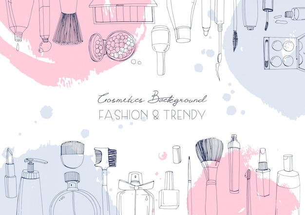 Fashion cosmetics horizontal background with make up artist objects and watercolor spots.