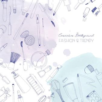 ファッション化粧品の正方形の背景にメイクアップアーティストのオブジェクトと水彩のスポット。テキストのための場所で手描きイラスト。