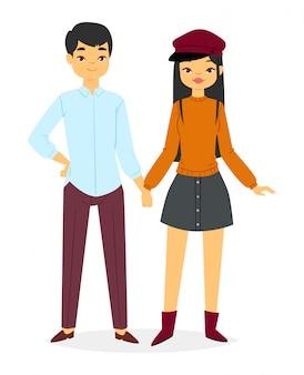 패션 커플 남자와 여자 옷을 보인다
