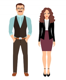 Fashion couple in business clothes for office work. vector illustration
