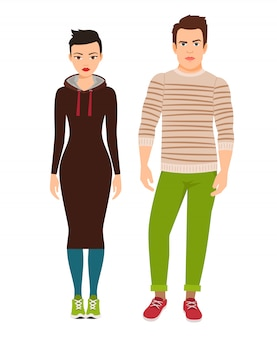 Fashion couple in hipster style clothes and sneakers. vector illustration