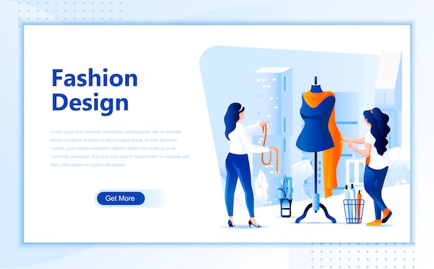 Fashion design flat landing page template of homepage