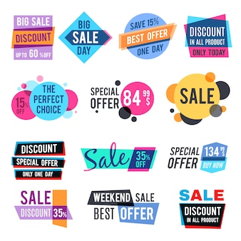 Fashion design pricing tags and discount labels vector templates with color multiply effect. sale and best offer special illustration
