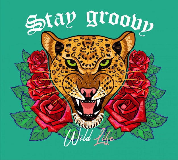 Fashion design print on clothes t shirt bomber sweatshirt also for sticker poster patch with embroidery wild head of leopard with red roses and phrase