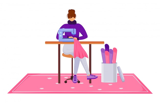 Fashion designer atelier flat color vector illustration. assistant with sewing machine at workshop. designing and reparing clothes in tailor studio isolated cartoon character