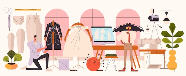 Fashion designer concept flat illustration