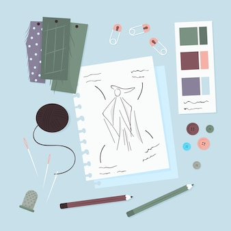 Fashion designer elements and drawings