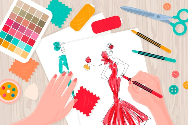 Illustrazione di stilista di moda con elementi essenziali sul tavolo