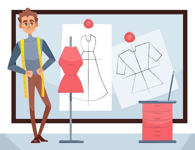 Illustrazione di stilista di moda con l'uomo in studio