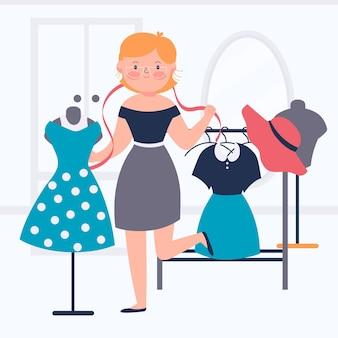 Иллюстрация модельера с женщиной и одеждой