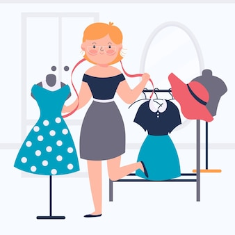 Fashion designer illustration with woman and clothes