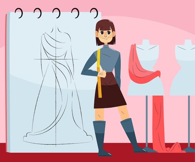 Illustrazione di stilista di moda con la donna in studio