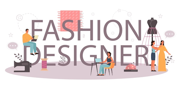 Fashion designer or tailor typographic header concept. professional master sewing clothes. dressmaker working on power sewing machine and taking measurements. vector illustration