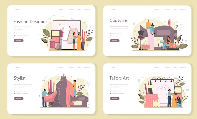 Набор целевой страницы веб-дизайнер моды. профессиональный мастер по пошиву одежды. портниха работает на швейной машине и снимает мерки. векторная иллюстрация