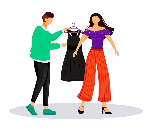 패션 디자이너 작업 평면 색상. 유명한 사람들에게 옷 입히기. 패션쇼를위한 복장 선택. 흰색 배경에 활주로 격리 된 만화 캐릭터에 대 한 모델 준비
