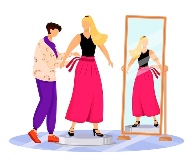 패션 디자이너 작업 평면 색상. 유명한 사람들에게 옷 입히기. 캣워크를 위해 새 옷을 입어보기. 흰색 배경에 활주로 격리 된 만화 캐릭터에 대 한 모델 준비