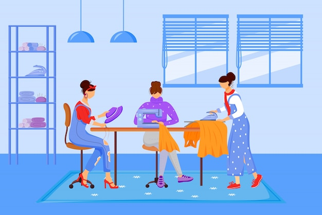 Fashion designers atelier flat color illustration. creating handmade clothing at workshop. sewing, reparing and ironing clothes in tailor studio isolated cartoon characters on blue background