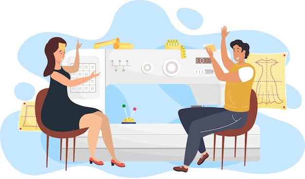 Модельеры мужчина и женщина сидят возле эскиза с платьем и обсуждают модель. швеи сравнивают выкройку на шитье. современное производство, люди возле швейной машины с заметками