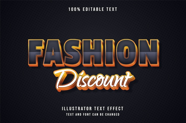 Fashion discount,3d editable text effect grey gradation yellow gold shadow text style