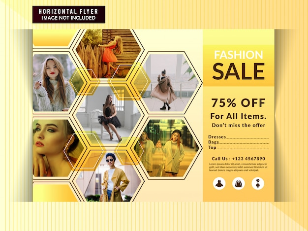 Fashion discount horizontal flyer template