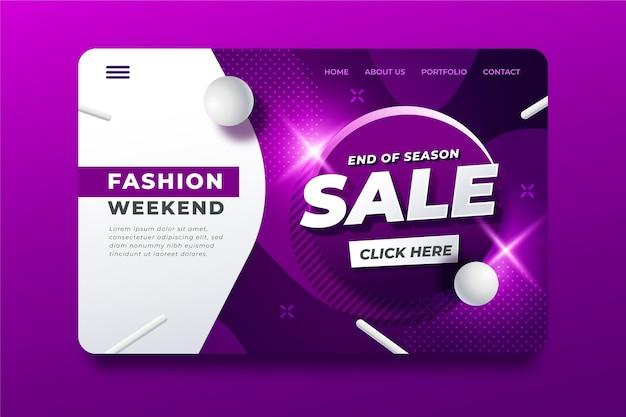 Pagina di destinazione della vendita di moda di fine stagione