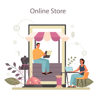 Fashion er or tailor online service or platform. professional master sewing clothes. dressmaker working on power sewing machine. online store.