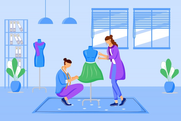 Fashion ers atelier  color  illustration. creating exclusive dress at workshop. designing and sewing clothes in tailor studio  cartoon characters on blue background