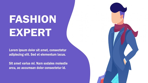 Fashion expert tips service flat banner template