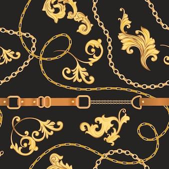 ゴールデンチェーン、ベルト、ストラップ付きのファッションファブリックシームレスパターン。テキスタイル、壁紙、スカーフのジュエリー要素と豪華なバロックの背景ファッションデザイン。ベクトルイラスト