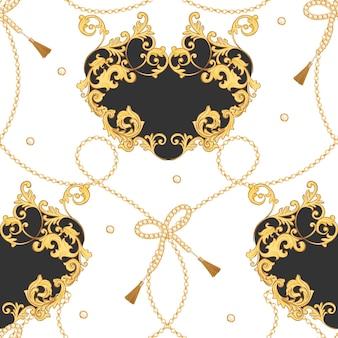 ゴールデンチェーンとファッション生地のシームレスなパターン。テキスタイル、壁紙、スカーフのジュエリー要素と豪華なバロックの背景ファッションデザイン。ベクトルイラスト
