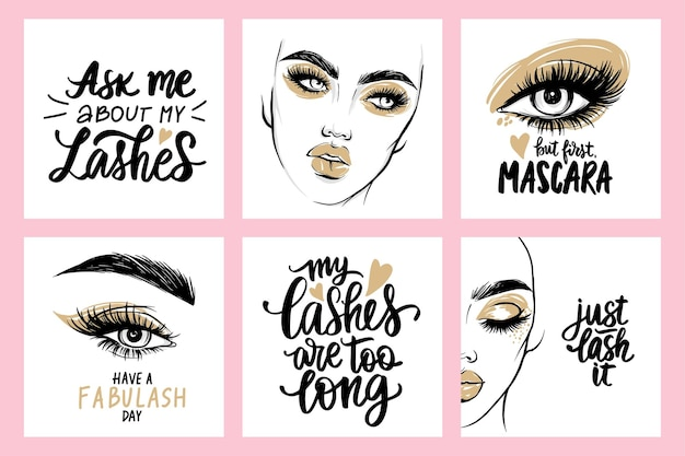 Fashion  female portraits, quotes about lashes and mascara. woman with long eyelashes.