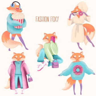 Fashion foxy. hand pinting illustration. vector isolated elements.