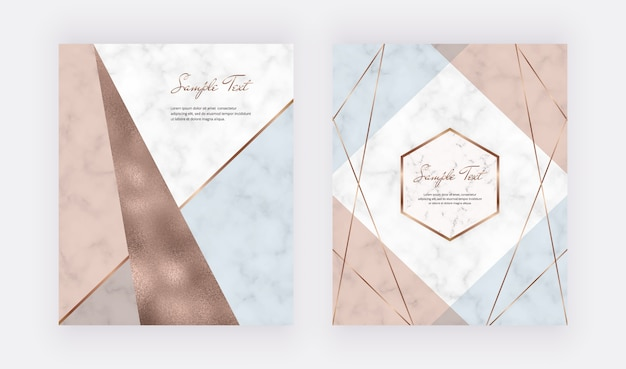 Fashion geometric design with pastel pink, blue and copper foil triangles shapes and golden lines.