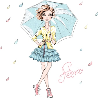 Fashion girl in autumn clothes