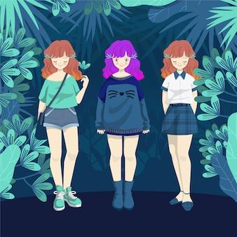 ジャングルの背景のファッションの女の子のコレクション