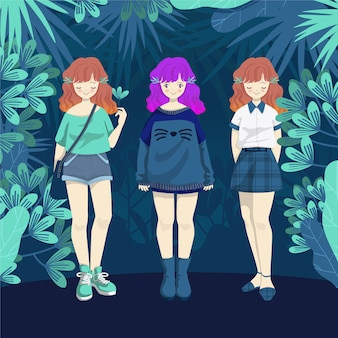 Fashion girl collection in jungle background