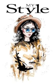 Девушка моды в шляпе, изолированные на белом фоне