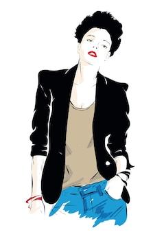 スケッチ風イラストのファッションの女の子。