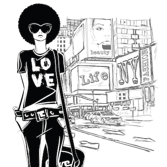 거리 배경에 스케치 스타일의 패션 소녀.